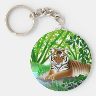 Tiger in Bamboo Jungle Keychain