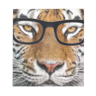 Tiger in glasses notepad