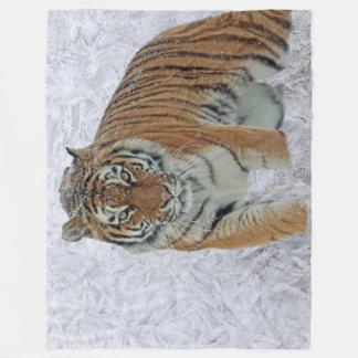 Tiger in snowflakes fleece blanket