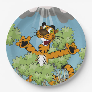 Tiger in the Bushes 9 Inch Paper Plate