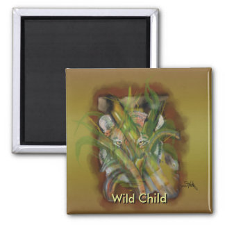 Tiger in the Jungle through Bamboo Customizable Square Magnet