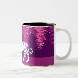 Tiger in the Pink Woods Two-Tone Coffee Mug