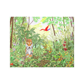 Tiger in the Rainforest Canvas Print