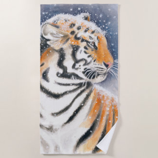 Tiger In the Snow Art Beach Towel
