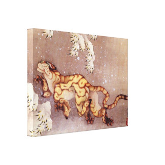 Tiger in the snow by Hokusai Canvas Print