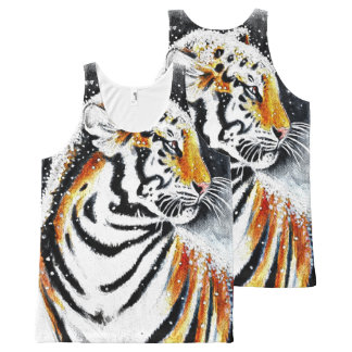 Tiger In The snow noir All-Over-Print Tank Top