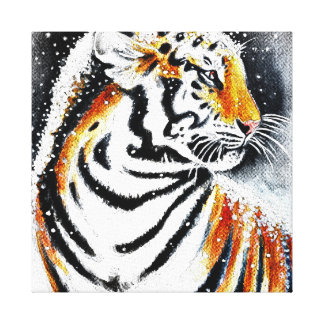 Tiger In The snow noir Canvas Print