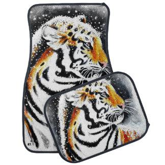 Tiger In The snow noir Car Mat