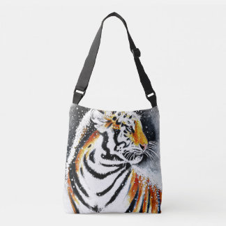 Tiger In The snow noir Crossbody Bag