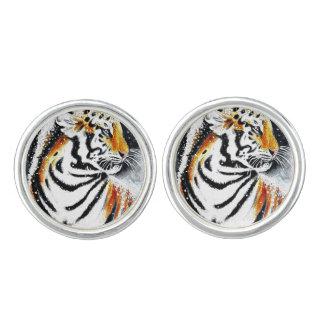 Tiger In The snow noir Cufflinks