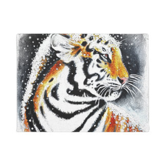 Tiger In The snow noir Doormat