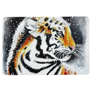 Tiger In The snow noir Floor Mat