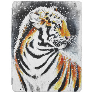 Tiger In The snow noir iPad Cover