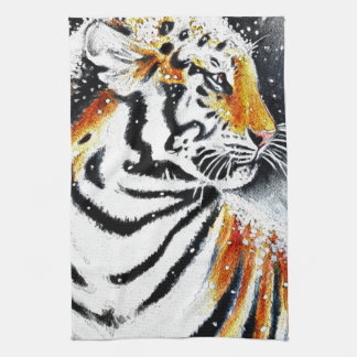 Tiger In The snow noir Kitchen Towel