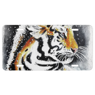 Tiger In The snow noir License Plate