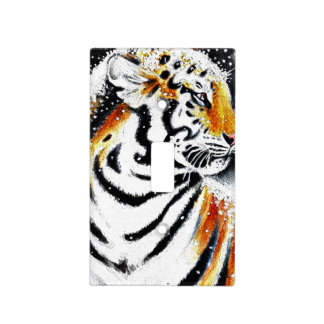 Tiger In The snow noir Light Switch Cover