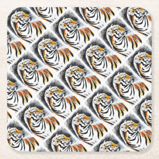Tiger In The snow noir Square Paper Coaster