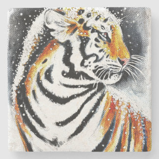 Tiger In The snow noir Stone Coaster