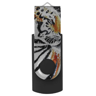 Tiger In The snow noir USB Flash Drive