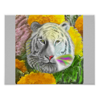 Tiger in yellow flowers poster
