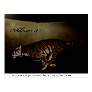 Tiger Inspirational Encouragment to Run the Race! Postcard