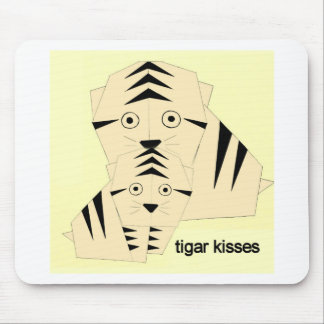 tiger kisses mouse pad