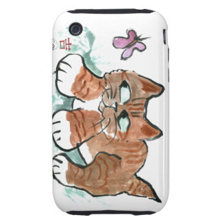 Tiger Kitten and Butterfly iPhone 3 Tough Case