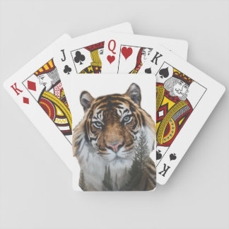 Tiger Landscape Double Exposure Playing Cards
