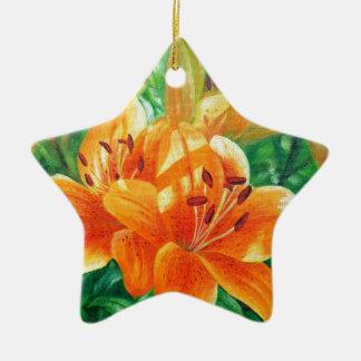 Tiger lilies ceramic star ornament