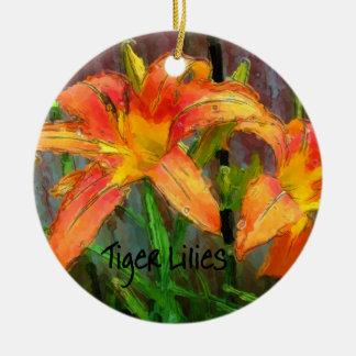 Tiger Lilies Round Ceramic Ornament