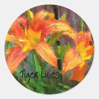 Tiger Lilies Round Sticker