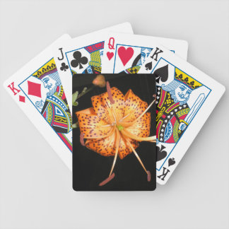 Tiger Lilly on Black Background Bicycle Playing Cards
