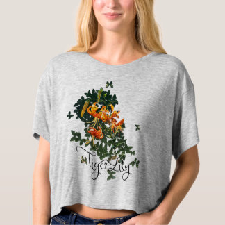 Tiger Lily & Butterflies, Boxy Crop Top Tee