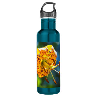 Tiger Lily on Blue Water Bottle