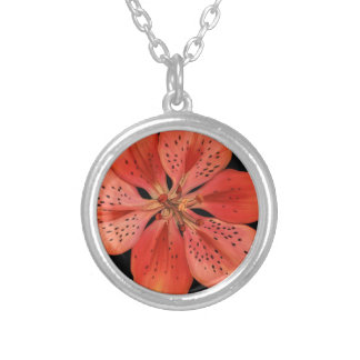 Tiger Lily Painting Silver Plated Necklace