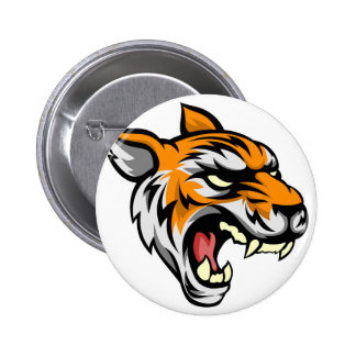 Tiger Mean Animal Mascot 2 Inch Round Button