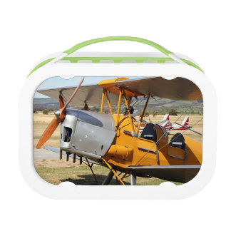 Tiger Moth yellow biplane aircraft Lunchbox