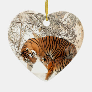 Tiger Mother and baby Ceramic Heart Ornament