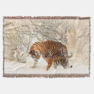 Tiger Mother and Cub Throw Blanket