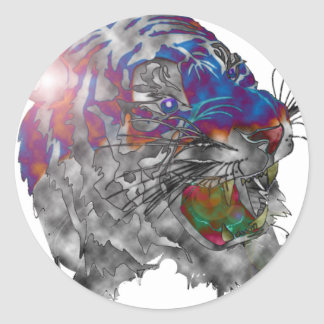 Tiger Multi Colored In Spot Light Round Sticker