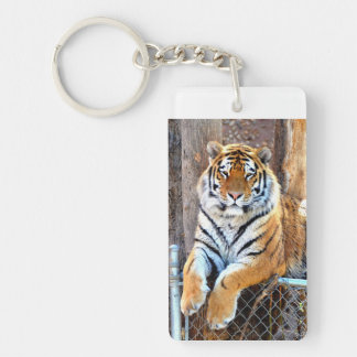 Tiger on a Fence Single-Sided Rectangular Acrylic Keychain