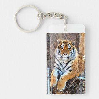 Tiger on a Fence Single-Sided Rectangular Acrylic Keychain