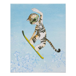 Tiger on Snowboard Poster