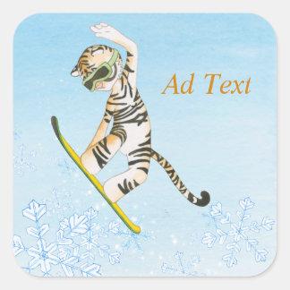Tiger on Snowboard Sticker