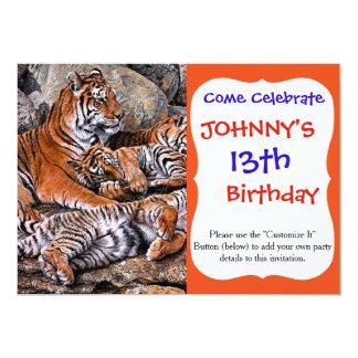 Tiger painting-tiger family-tiger cubs-tiger art card