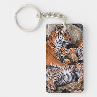 Tiger painting-tiger family-tiger cubs-tiger art keychain