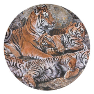 Tiger painting-tiger family-tiger cubs-tiger art plate