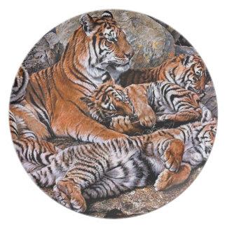 Tiger painting-tiger family-tiger cubs-tiger art plate