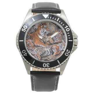 Tiger painting-tiger family-tiger cubs-tiger art watch