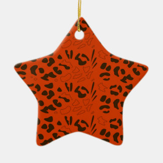 Tiger pattern brown ethno ceramic ornament
